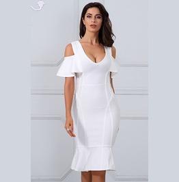 Sexy Short Ruffle Sleeves Bandage Dress