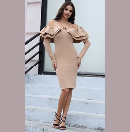 Sexy Off Shoulder Long Ruffle Sleeves Bandage Dress