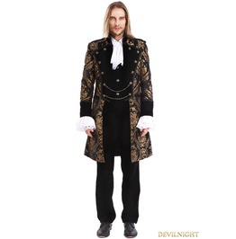 Gold Printing Pattern Gothic Swallow Tail Jacket For Men M080087 A