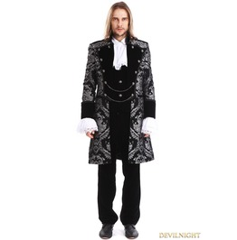 Sliver Printing Pattern Gothic Swallow Tail Jacket For Men M080087 B