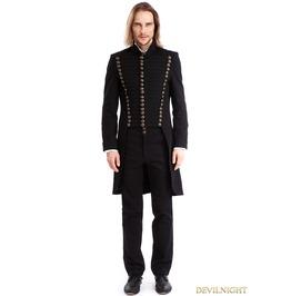 Black Gothic Vintage Swallow Tail Coat For Men M080081
