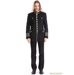 Black Mens Gothic Military Uniform Jacket M080078