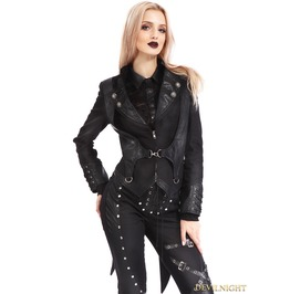 Black Gothic Punk Rock Short Jacket For Women M080090