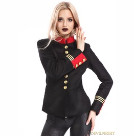 Black Gothic Military Uniform Jacket For Women M080092