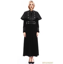 Black Velvet Gothic Long Cape Coat For Women M080093