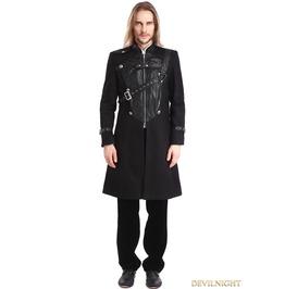 Black Gothic Punk Belt Coat For Men M080094