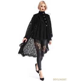 Black Gothic Lace High Low Cape For Women M080095