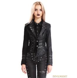 Black Gothic Punk Two Tone Short Irregular Jacket For Women M080096