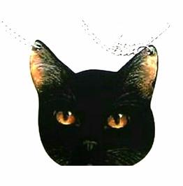 Eye Catching Black Cat Wooden Pendant