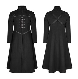 Men Long Black Gothic Coat With Zippers And Straps Steampunk Style Punk Coa