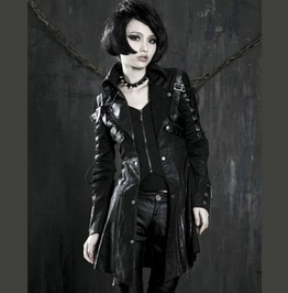 Womens Goth Steampunk Military Jacket Faux Leather Punk Black Poison Jacket