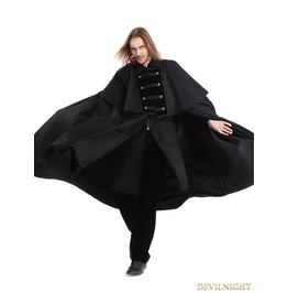 Black Gothic Vintage Long Coat With Detachable Shawl For Men M080104