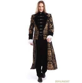 Gold Printing Pattern Gothic Swallow Tail Long Coat For Men M080106 A