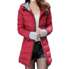 Slim Long Thick Quilted Hooded Winter Jacket Parkas Women