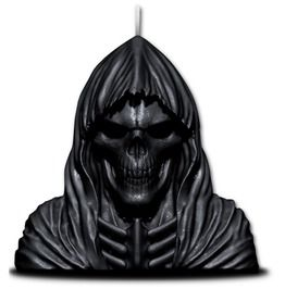 Wax Reaper With Skull Candle With Metal Sculpture Inside