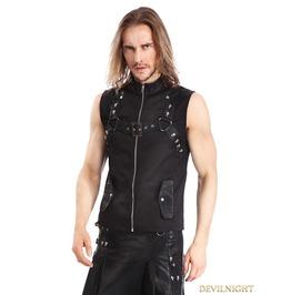 Black Gothic Punk Rock Waistcoat For Men Y010041
