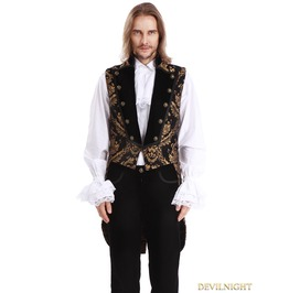 Gold Printing Pattern Gothic Swallow Tail Vest For Men Y010042 A
