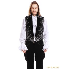 Silver Printing Pattern Gothic Swallow Tail Vest For Men Y010042 B