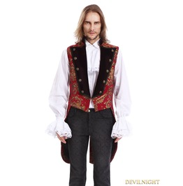Red Printing Pattern Gothic Swallow Tail Vest For Men Y010042 C
