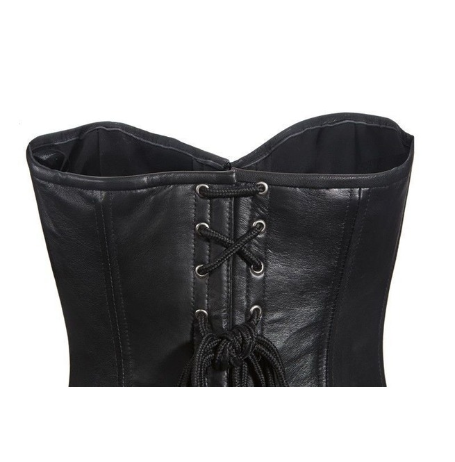69987dc8a48 Women Real Leather Corset Sexy Black Lambskin Laces Reinforced Steel Boned