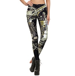 Steampunk 3 D Print Mechanical Dial Workout Leggings Women