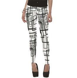 Geometric Print Black White Leggings Skinny Pants Women
