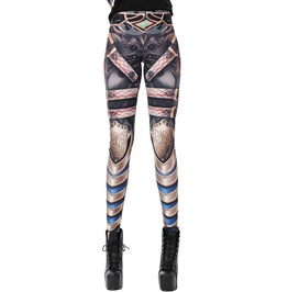Punk Harajuku Robot Gun Print Comic Bandage Slim High Waist Winter Leggings