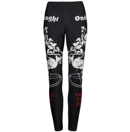 Punk Goth Power From Hell Onslaught Black Leggings Women