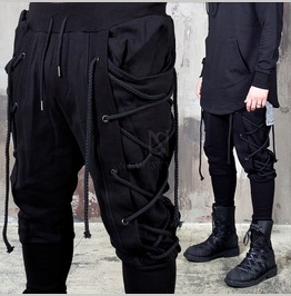 Eyelet Rope Black Bending Baggy Pants 168
