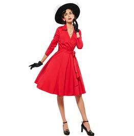 1950s V Neck Turn Down Collar A Line Vintage Dress