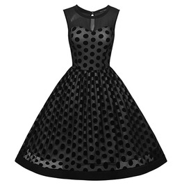 Black Polka Dots Sleeveless O Neck 1950s Vintage Dress