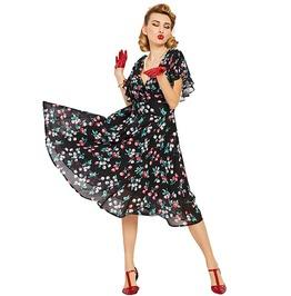 Floral Print Pull Over A Line Black Chiffon Vintage Dress