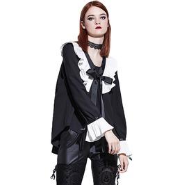 Gothic Lolita Chiffon Lantern Sleeves Patchwork Bowknot Top Women