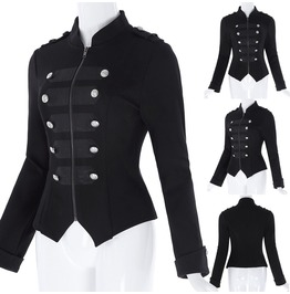 Womens Black Steampunk Emo Jacket Gothic Still Military Coat Parade Tops