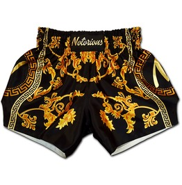 Muay Thai Shorts Gold Deluxe Versace Style Premium Sublimation Quality