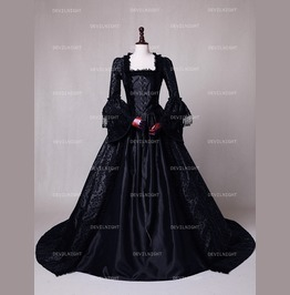 Black Masked Ball Gothic Victorian Costume Dress D3 018