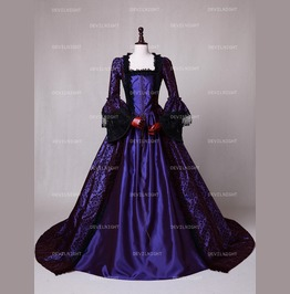 Purple Masked Ball Gothic Victorian Costume Dress D3 017
