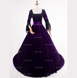 Purple Velvet Marie Antoinette Queen Theatrical Victorian Dress D3 011