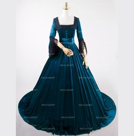 Blue Velvet Marie Antoinette Queen Theatrical Victorian Dress D3 010