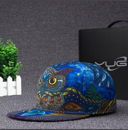 Personalized Owl Caps,Women Men Flat Hat,Hip Hop Blue Flexfit Baseball Caps