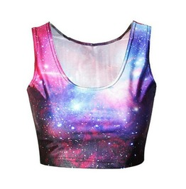 Space Galaxy Design Crop Vest Top / T Shirt One Small Size