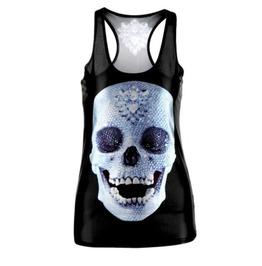 Cool Diamond Skull Design Vest Top / T Shirt One Size