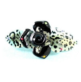Cool Black & White Leopard Print Plastic Hair Clip