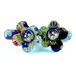 Pretty Patchwork Hippy Fabric Look Print Flower Plastic Hair Clip