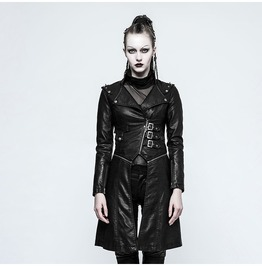 Punk Women's Steampunk Faux Leather Long Detachable Jacket
