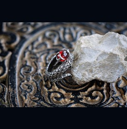 """925 Sterling Silver Moonstone Ring """"Cosmosnake"""". Unique Design"""
