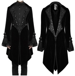 Men Punk Frock Coat Gothic Black Velvet Steampunk Vampire Regency Coat Jack