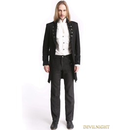 Black Vintage Pattern Gothic Swallow Tail Jacket For Men M080085