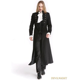 Black Vintage Pattern Gothic Long Double Breasted Trench Coat For Men M0843