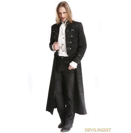 Black Vintage Pattern Gothic Two Wear Double Breasted Coat For Men M080073